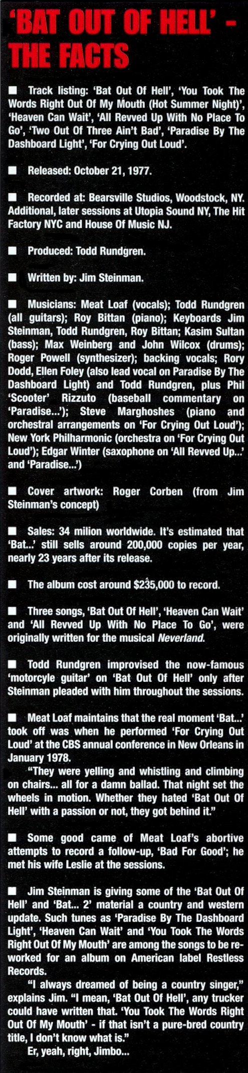 Bat Out Of Hell - The Facts (scan of magazine info box - text is below)