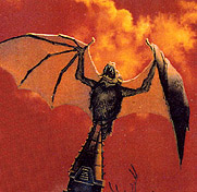 detail from Bat Out Of Hell cover art by Richard Corben, showing a giant bat upon a steeple