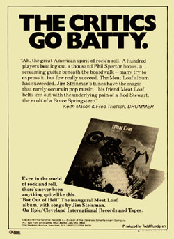 Advert for Bat Out Of Hell