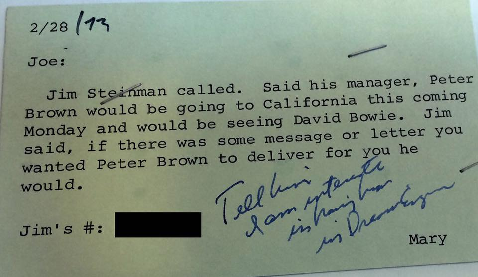 note about recruiting David Bowie for Jim Steinman's Dream Engine, 1973