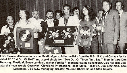 Meat Loaf, Jim Steinman and others accepting platinum and gold disks