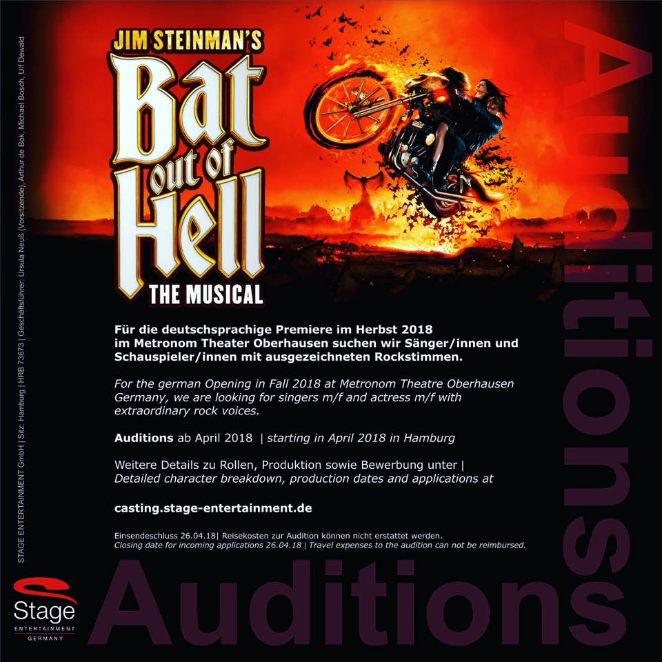 Casting notice for a German production of Bat Out Of Hell the musical, from Stage Entertainment