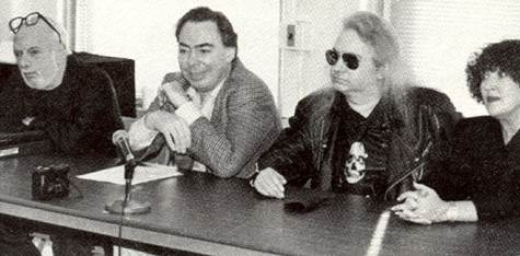Hal David, Andrew Lloyd Webber, Jim Steinman and Patricia Knop, seated at a long table