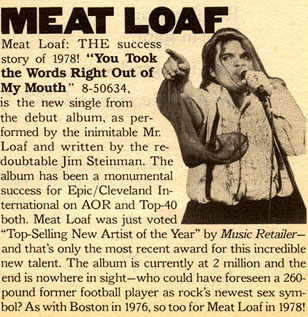Meat Loaf: THE success story of 1978!