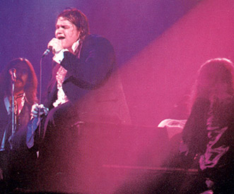 concert photo from 1978 - left-to-right: Rory Dodd (backing), Meat Loaf (lead vocals), Jim Steinman (keyboards)