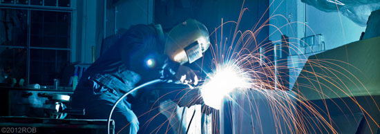 metalworking, sparks flying