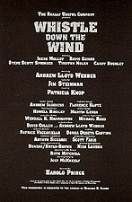 Credits for the musical Whistle Down The Wind, 1996